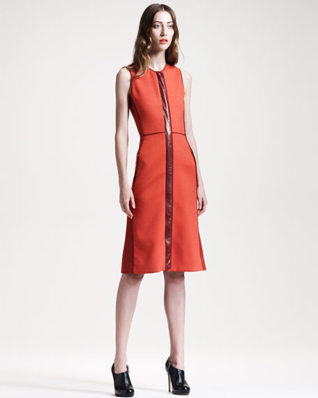 Leather-Trim Colorblock Dress