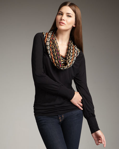 Honeycomb Cowl-Neck Top