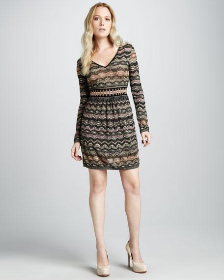 Metallic Zigzag Long-Sleeve Dress