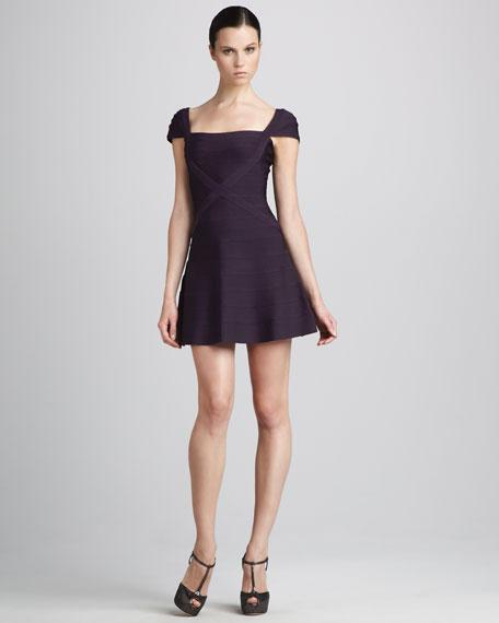 Cap-Sleeve A-Line Bandage Dress, Rich Plum