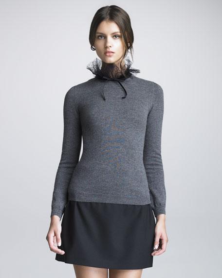 Point d'Esprit Trimmed Wool Sweater