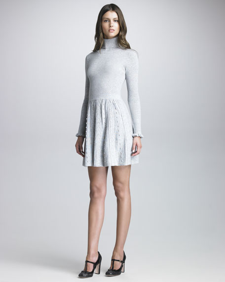 Cable-Skirt Turtleneck Sweaterdress