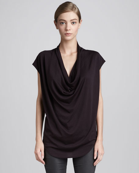 Draped Jersey Tee, Mulberry