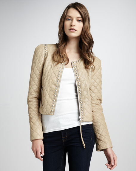 Quilted Studded Leather Jacket