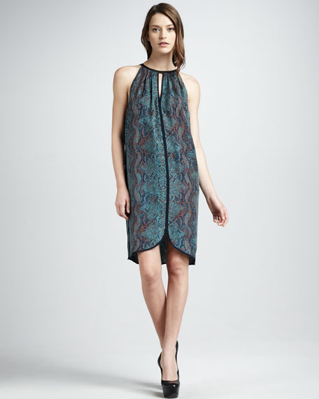 Python-Print Halter Dress, Emerald