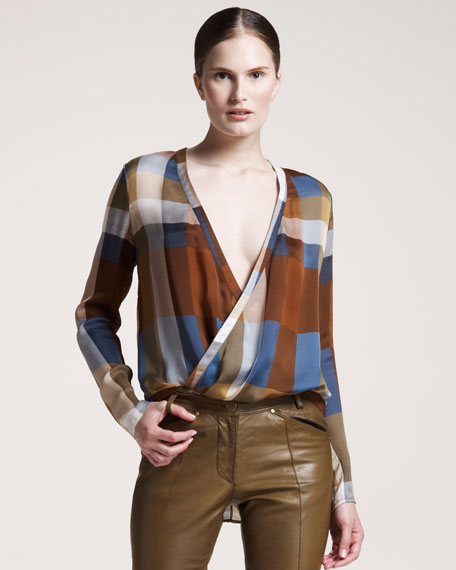 Plaid Wrap-Front Blouse