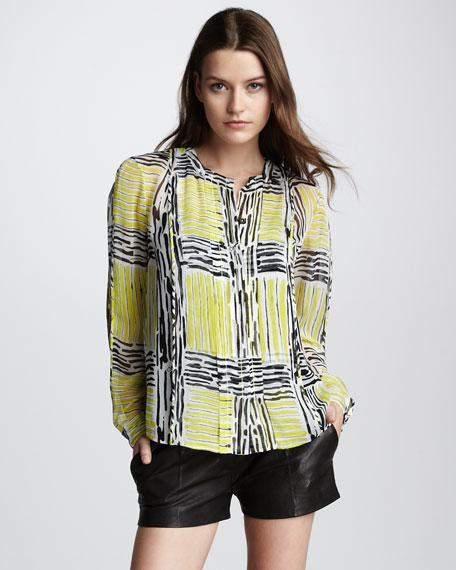 New Billow Check Blouse
