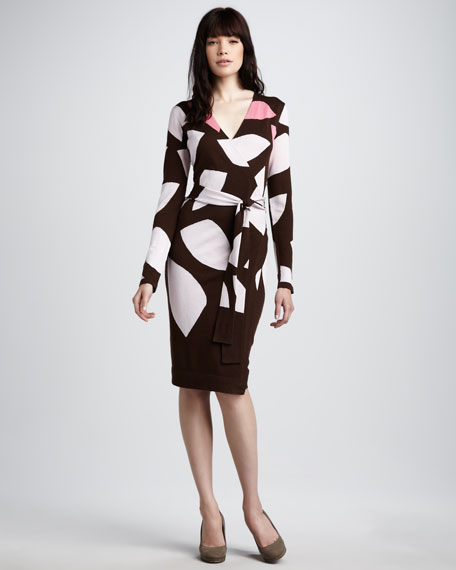 Richley Intarsia-Knit Wrap Dress