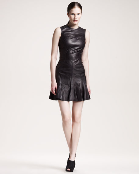Flare-Skirt Leather Dress