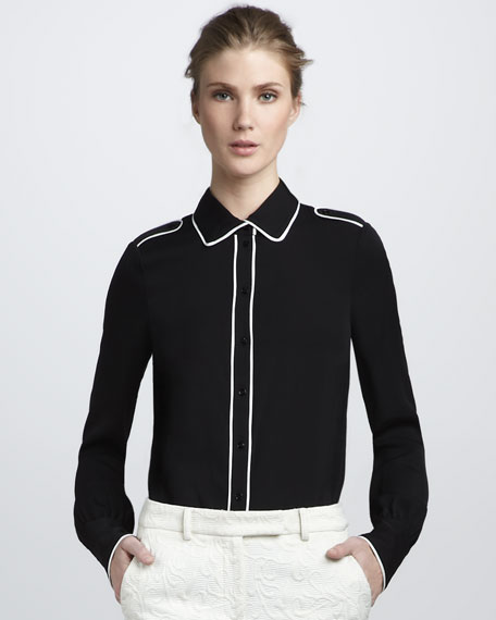 Lara Tipped Shirt, Black