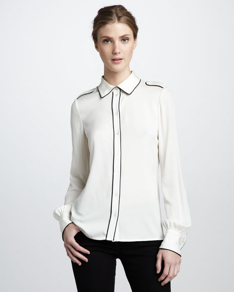 Lara Tipped Shirt, Ecru