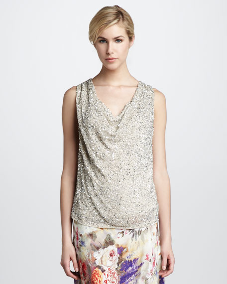 Sequined Cowl Top