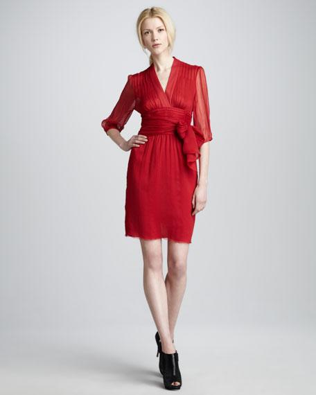 Silk Tie-Waist Dress