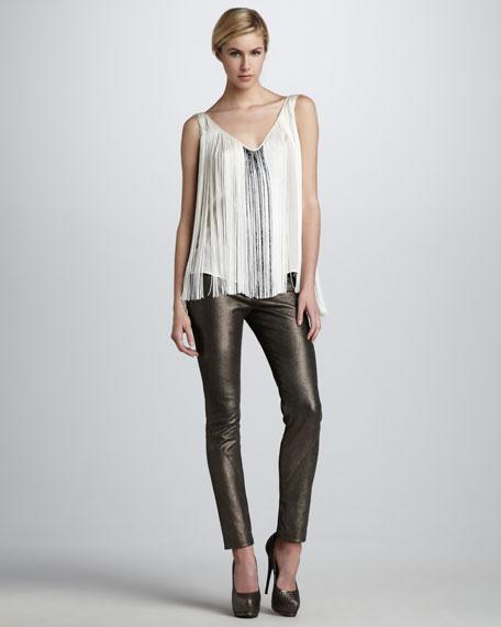 Metallic Stretch-Leather Pants