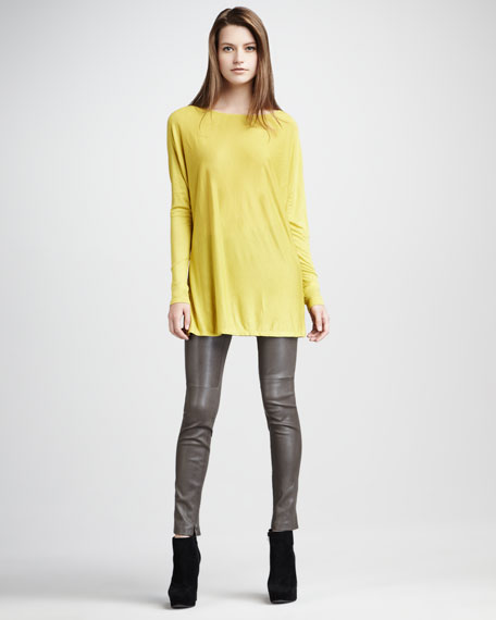 Leather Zip-Ankle Leggings