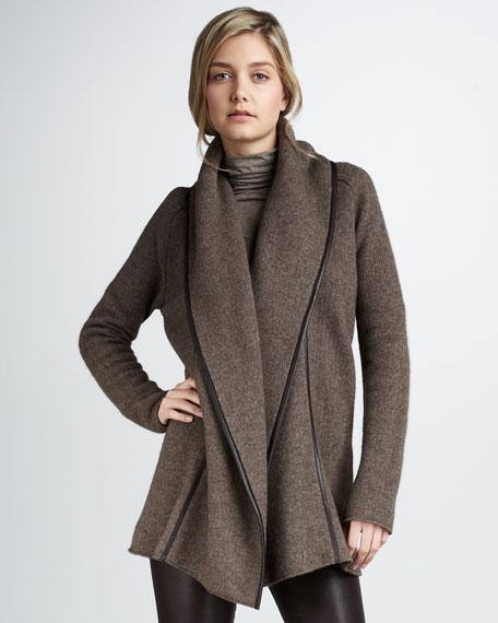 Leather-Trimmed Car Coat