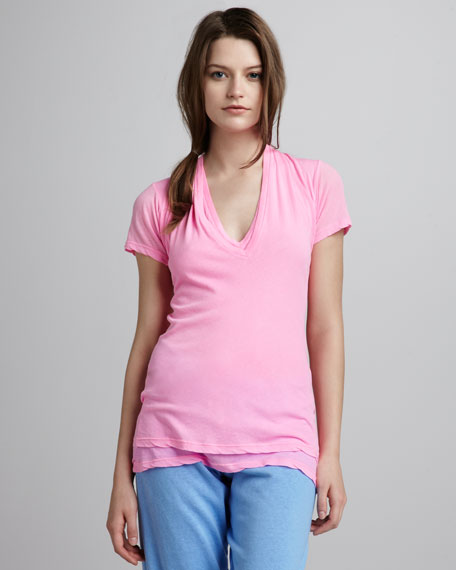 Double Tissue Knit V-Neck Tee