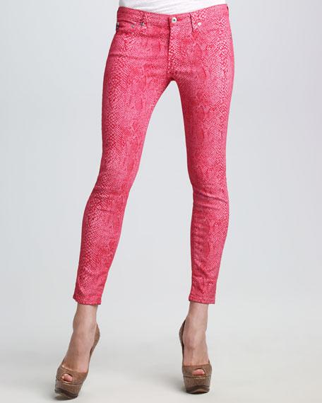 The Legging Raspberry Snake-Print Jeans