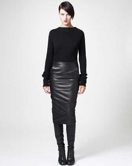 Ruched Leather Pencil Skirt
