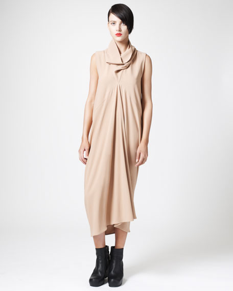 Drape-Neck Diamond Dress