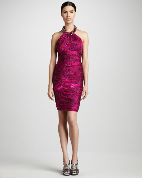 Snake-Print Halter Cocktail Dress
