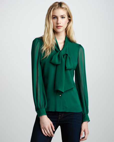 Solid Bryce Bow Blouse