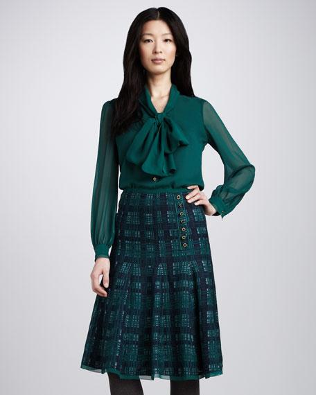 Wess Tweed-Print Silk Skirt