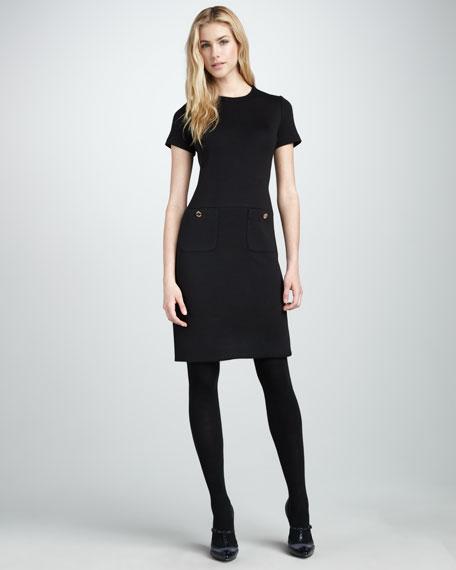 Anthea Wool-Trim Dress, Black