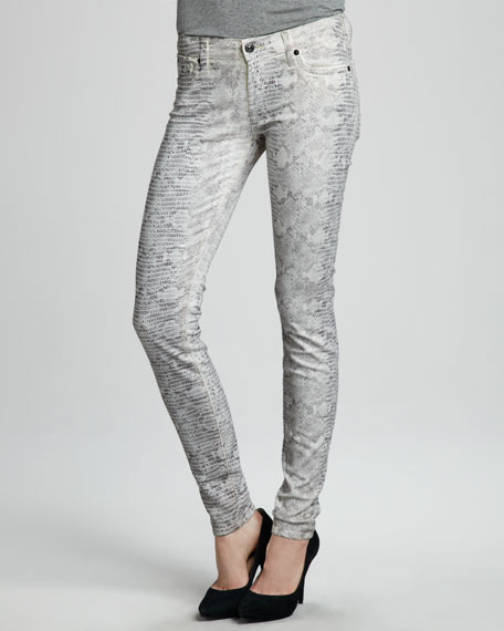 The Skinny Papyrus High Gloss Snake-Print Jeans