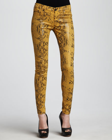 The Skinny Amber High Gloss Snake-Print Jeans