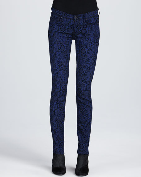 Skinny Jacquard Jeans, Royal Blue/Black