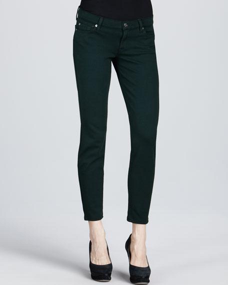 Skinny Double-Knit Jeans, Deep Green
