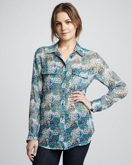 Floral/Poppy-Print Blouse, Blue