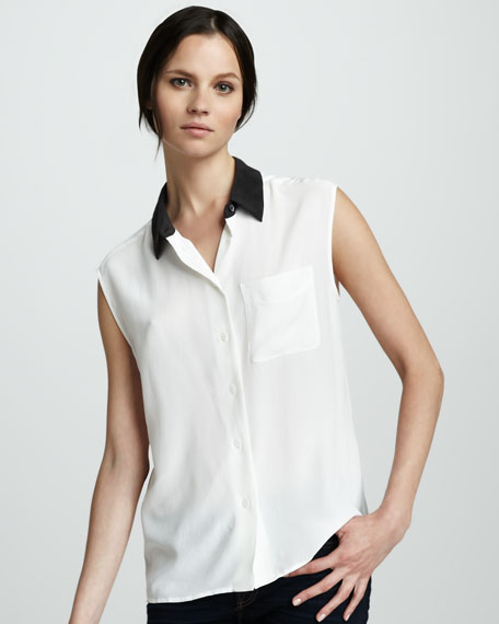 Contrast-Collar Blouse