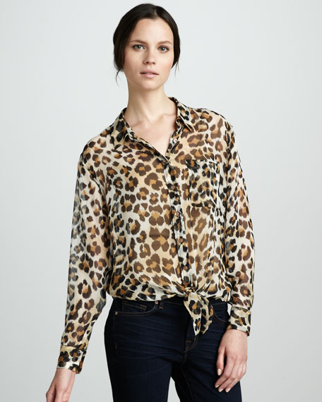 Leopard-Print Tie-Hem Blouse