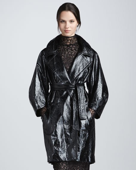 Jade Croc-Embossed Leather Coat