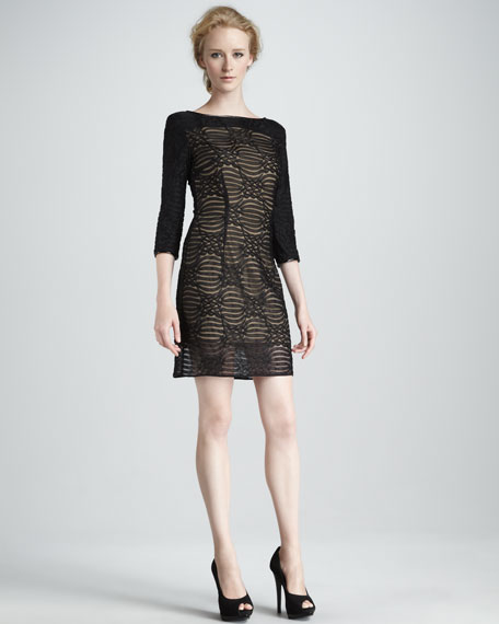 Patterned-Mesh Stretch Dress