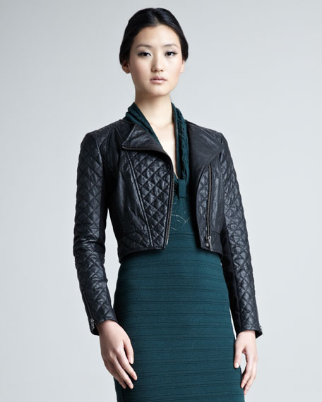 Cropped Quilted-Leather Ponti-Back Jacket