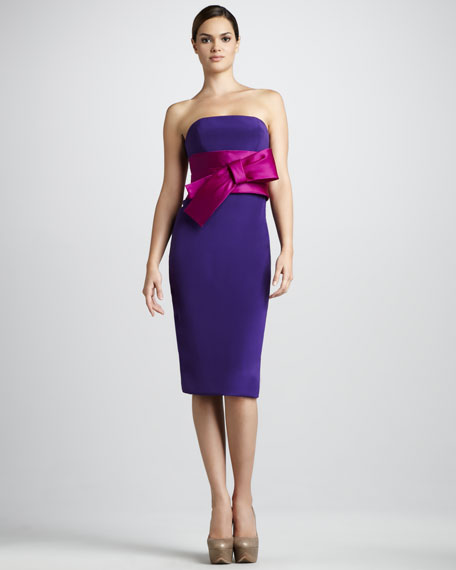 Strapless Bow-Waist Cocktail Dress