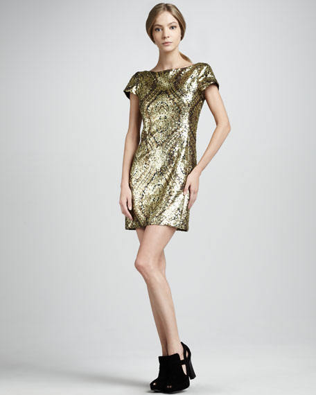 Gold Society Sequined Dress