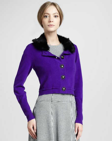 Countess Fur-Collar Cardigan, Iris