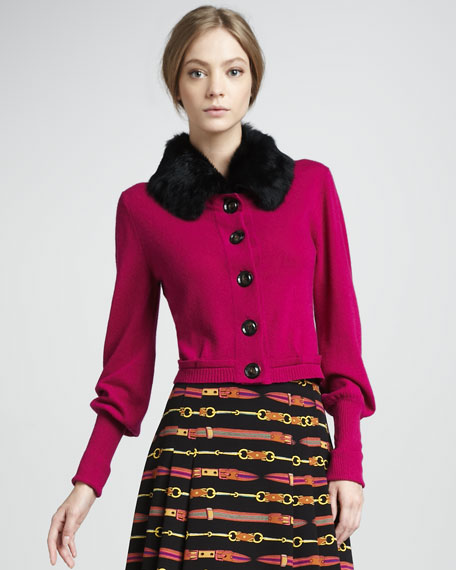 Countess Fur-Collar Cardigan, Orchid