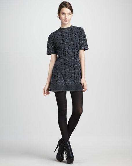 Patterned Velvet Dress