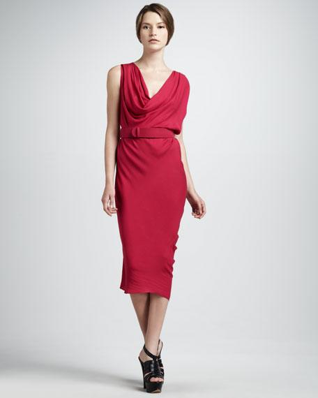 Belted Cowl-Neck Dress