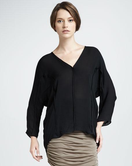 Oversize Silk Top, Black