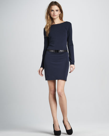 Self-Tie Long-Sleeve Jersey Dress