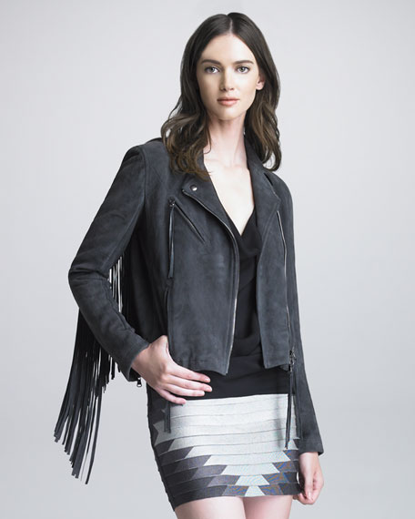 Fringed Suede Motorcycle Jacket