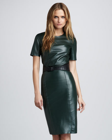 Lara Leather Pencil Skirt