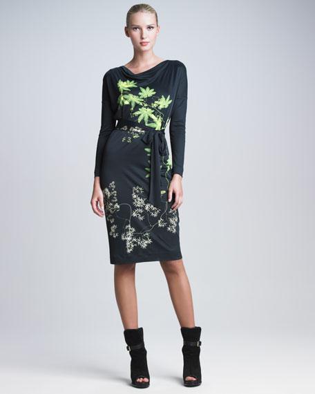 Belted Leaf-Print Jersey Dress
