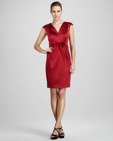 Pique-Satin Cocktail Dress